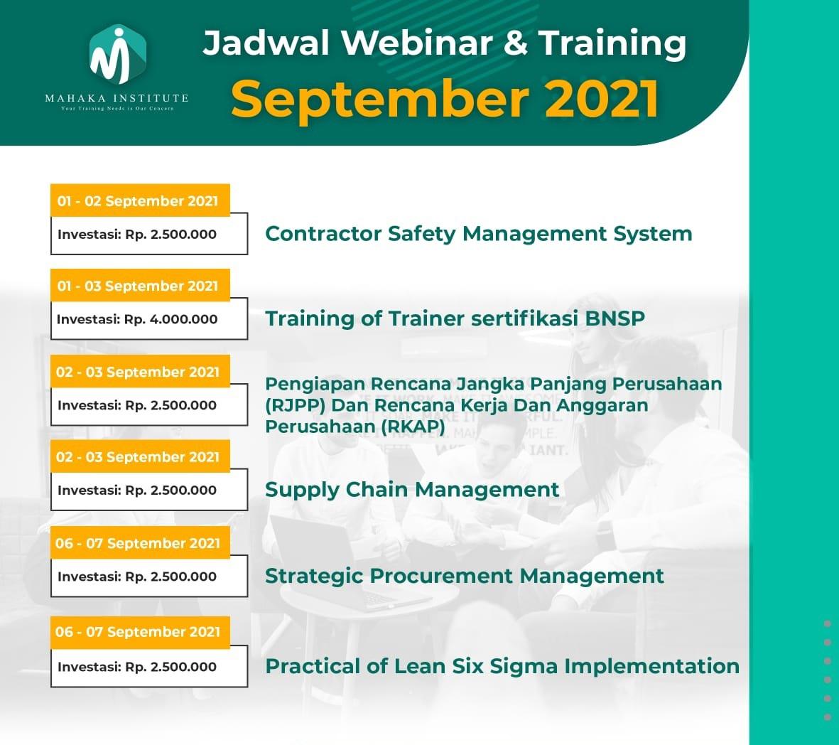 Jadwal Training Mahaka Agustus 2021 - 1